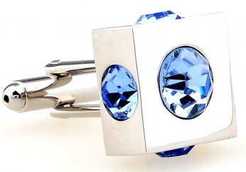 Light blue disco ball imbedded in square cufflinks