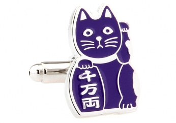 Beckoning Cat purple cufflinks - Click Image to Close