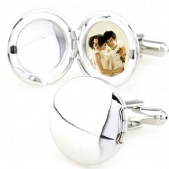 Circle photo frame solid color cufflinks