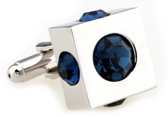 Deep blue disco ball imbedded in square cufflinks