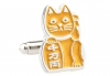 Beckoning Cat dark orange cufflinks