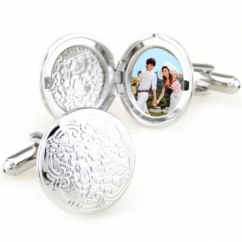 China stylish circle photo frame cufflinks - Click Image to Close