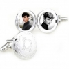 Europe stylish circle photo frame cufflinks