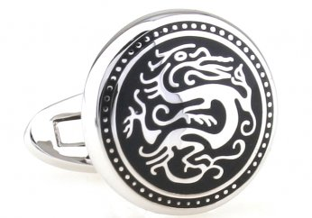 Silver black dragon circle cufflinks