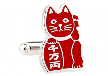 Beckoning Cat red cufflinks [170968]