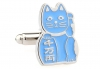 Beckoning Cat powder blue cufflinks